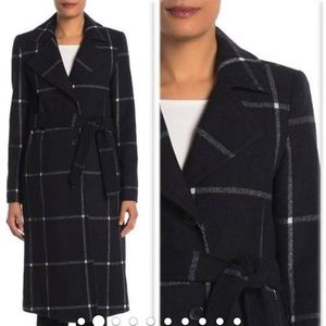 NWOT Cole Haan Plaid Wool Blend Coat